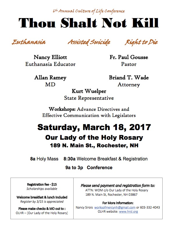 6th Annual Culture of Life Conference @ Our Lady of the Holy Rosary Parish | Rochester | New Hampshire | United States