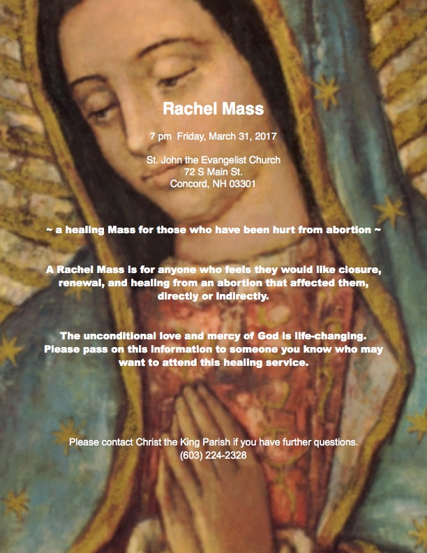 Rachel Mass @ St. John the Evangelist Church | Concord | New Hampshire | United States