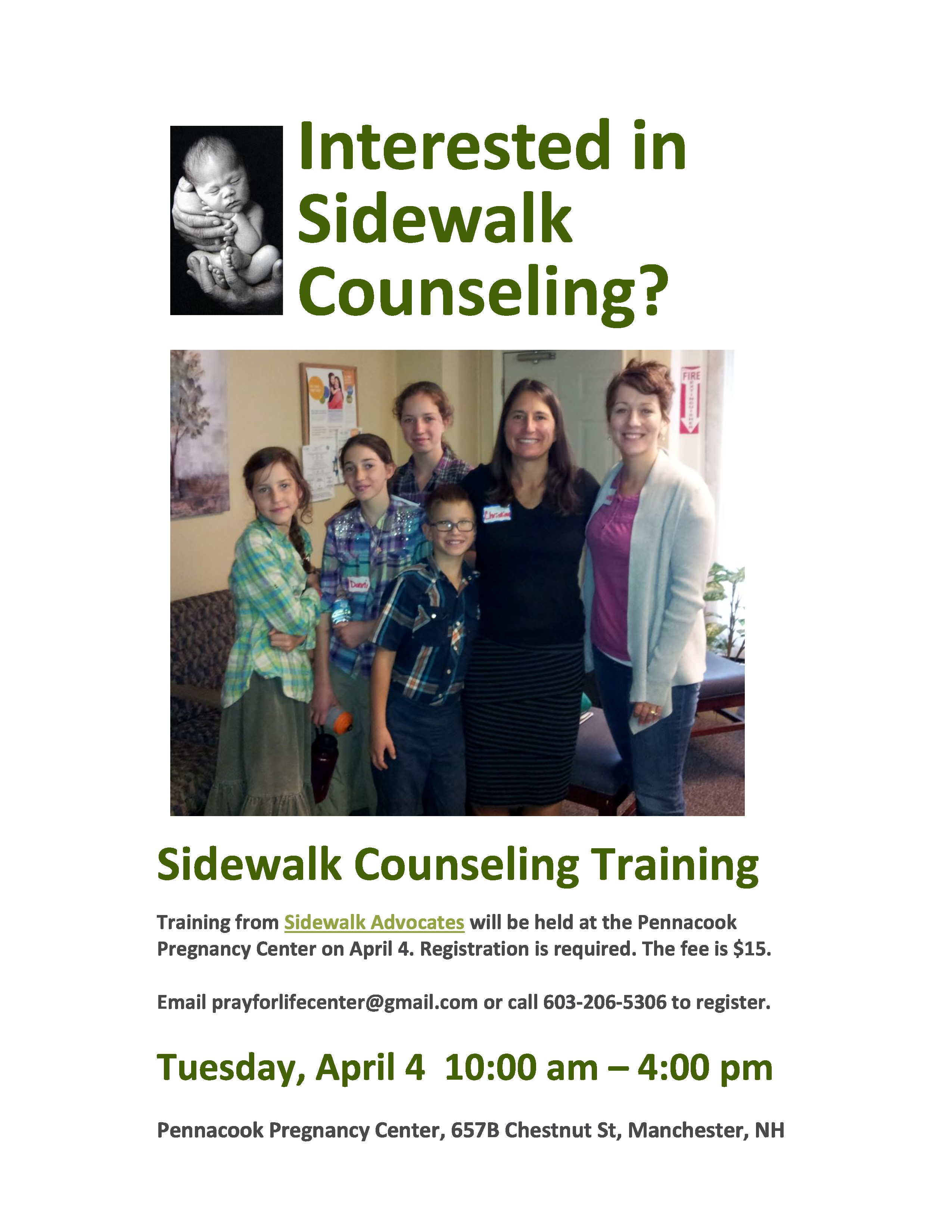 Sidewalk Counseling Training @ Pennacook Pregnancy Center | Manchester | New Hampshire | United States
