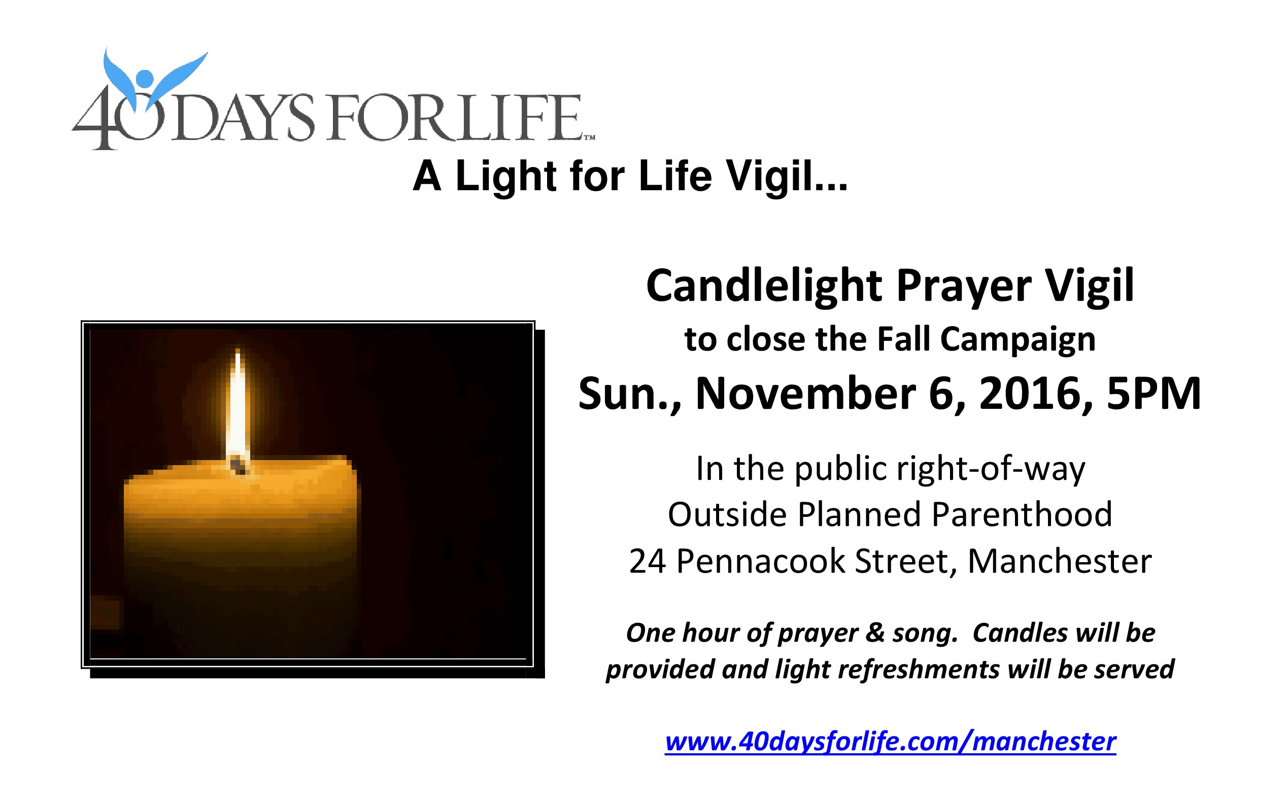 40 Days for Life Manchester Candlelight Vigil
