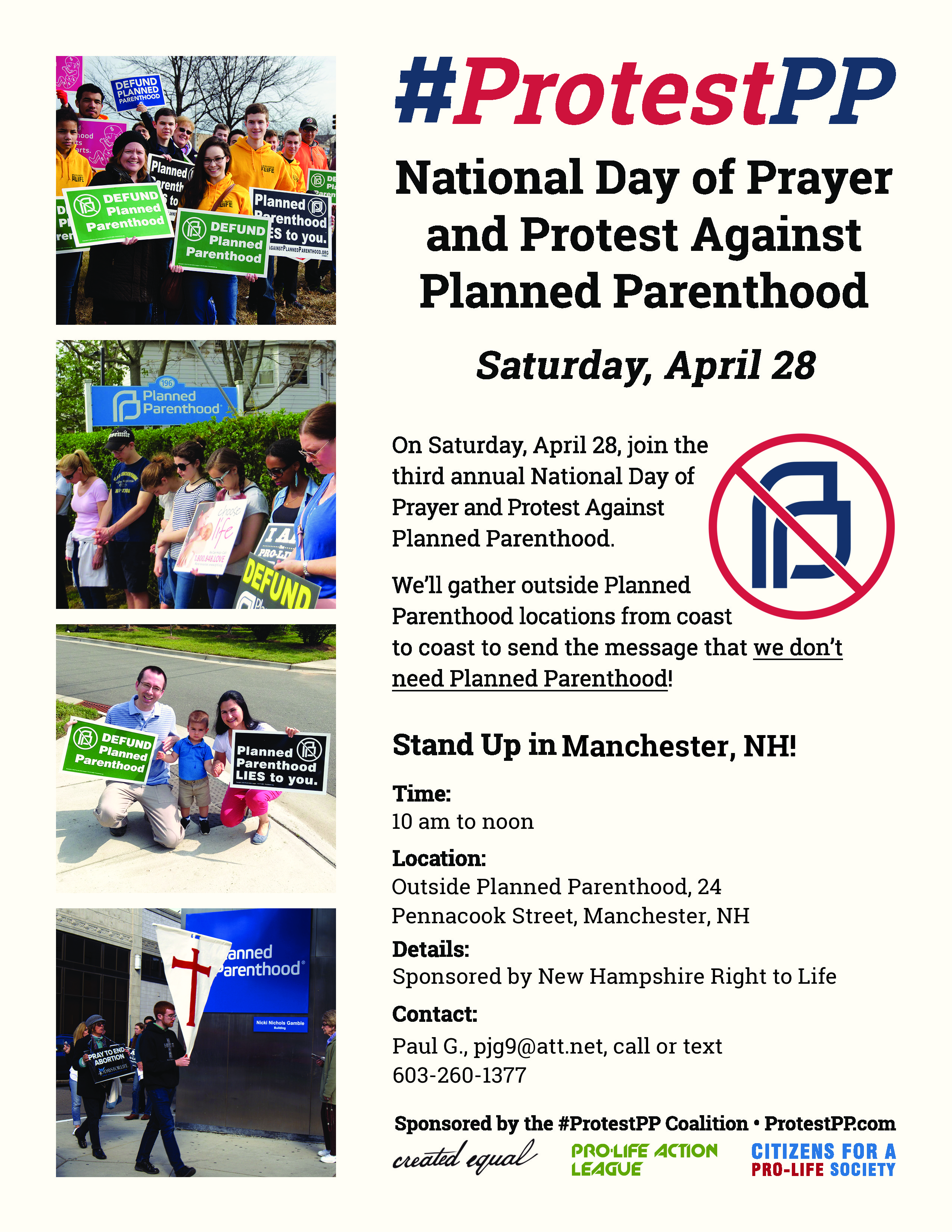 National Day of Prayer and Protest Against Planned Parenthood @ Sidewalk outside Planned Parenthood | Manchester | New Hampshire | United States
