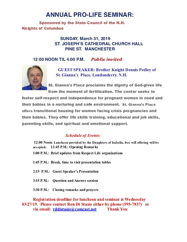 Knights of Columbus Life Conference @ Saint Joseph's Cathedral Church Hall