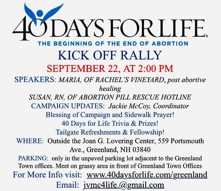 40 Days for Life Kick-Off - Greenland @ Outside Joan G. Lovering Center